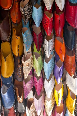 Rows Of Colorful Leather Slippers On Market Stall, Marrakech, Morocco 写真素材