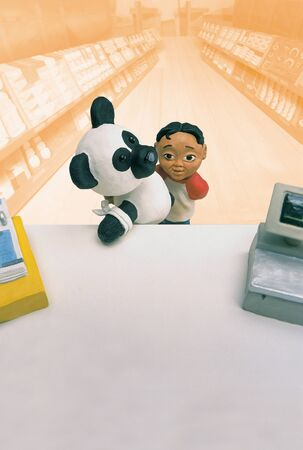 Model Of Boy Carrying Bandaged Panda Toy In Front Of Pharmacy Counter