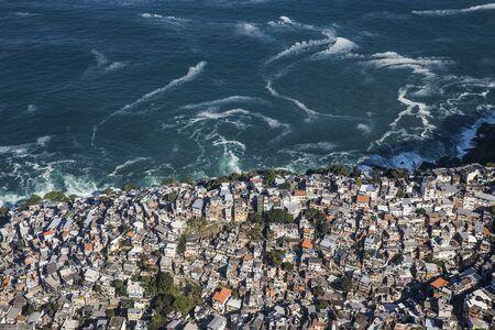 Aerial View Of Trees And Crowded Favela, Vidigal, Rio De Janeiro, Brazil 写真素材