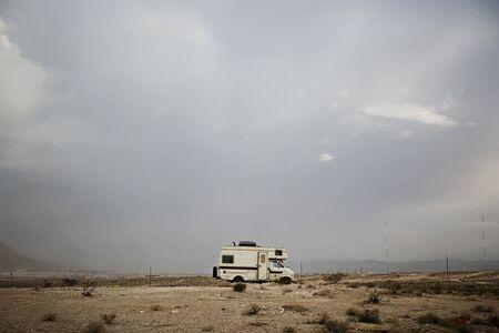 Campervan In Nevada Desert, Las Vegas, Usa