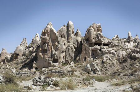 View Of Rock Formations, Uchisar Village, Cappadocia, Anatolia, Turkey