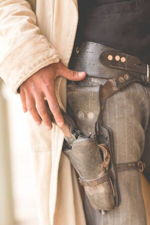 Cropped Close Up Of Cowboys Gun Holster On Wild West Film Set, Fort Bravo, Tabernas, Almeria, Spain