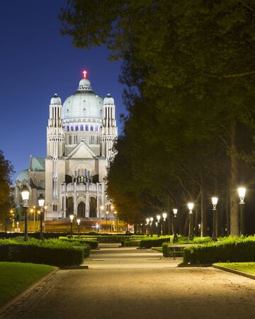 View Of National Basilica Of The Sacred Heart From Parc Elisabeth At Night, Koekelberg, Brussels, Belgium 写真素材