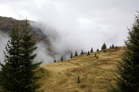 View Of Mountain Landscape And Cloud, Flaine, French Alps, France 写真素材