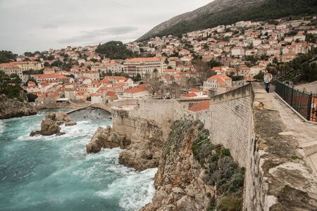 View Of Waterfront And The Old Town, Dubrovnik, Croatia Standard-Bild