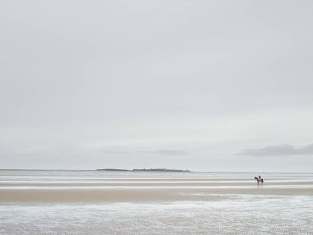 Distant View Of Man On Racehorse On Empty Beach, West Kirby, Wirral, England, Uk