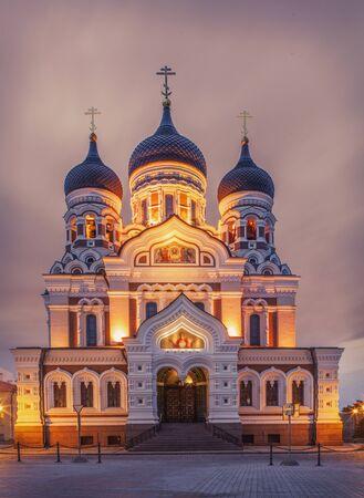 Alexander Nevsky Cathedral At Night, Tallinn, Estonia