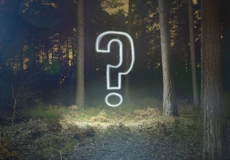 Glowing Question Mark Symbol In Forest At Night Stock Photo