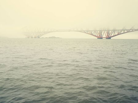Misty View Of Forth Rail Bridge, South Queensferry, Scotland, Uk 写真素材