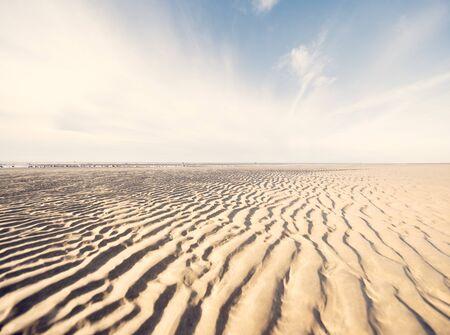 Rippled Sand On Beach, West Kirby, Wirral, Uk 写真素材