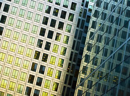 Detail Of Office Building At Canary Wharf, London, Uk