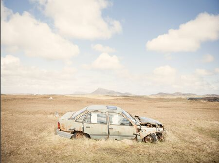 Landscape With Rusty Abandoned Car, Isle Of South Uist, Scotland, Uk