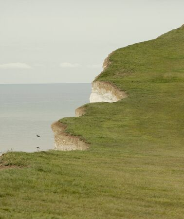 Grassed Chalk Cliff Top With Broken Edge, Eastbourne, Uk