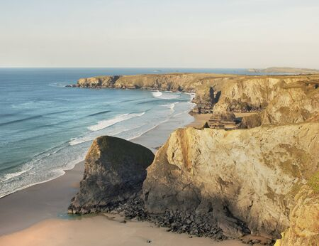 High Angle View Of Coastal Cliffs And Beaches, Benruthan Steps, Cornwall, England, Uk