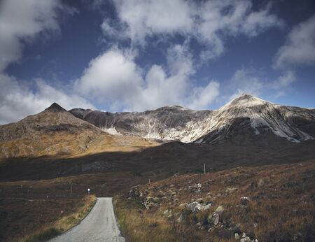 Single Track Road Through Mountain Range, Highland, Scotland