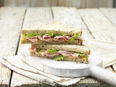 Wafer Thin Ham, Mustard And Salad Leaf Sandwich On Sliced Seeded Bread