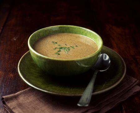 Still Life Of Mushroom Soup With Garnish In Green Bowl Imagens