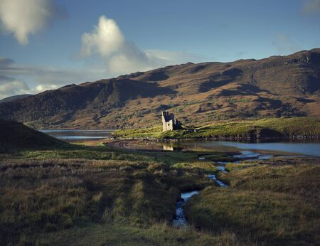 Ardvrek Castle Near Loch And Mountain, Sutherland, Scotland