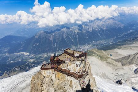 High Angle View Of Mountain Visitor Centre, Aiguille Du Midi, France