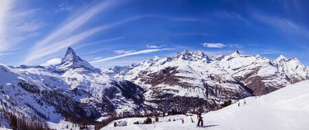 Panoramic View Of Ski Slopes And Skiers, Zermatt, Switzerland