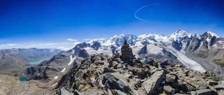 Panoramic View Of Mount Pers And Snowcapped Mountains, Engadin, Switzerland