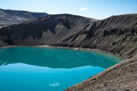 Elevated View Of Blue Water In Viti Crater Lake, Krafla, Iceland