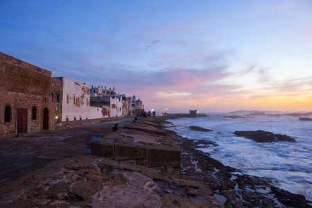 City Walls And Waterfront At Sunset, Essaouira, Morocco