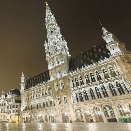 View Of Hotel De Ville On Grand Place At Night, Brussels, Belgium