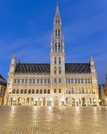 View Of Hotel De Ville On Grand Place At Dusk, Brussels, Belgium