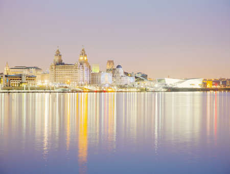 Liver Building And River Mersey At Dusk, Liverpool, England, Uk Editorial