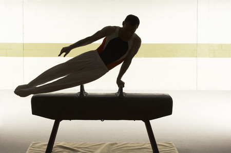 Male gymnast performing on pommel horse LANG_EVOIMAGES