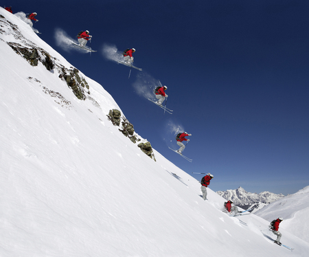 experiencing: Sequence of male skier jumping down steep slope (Digital Composite)
