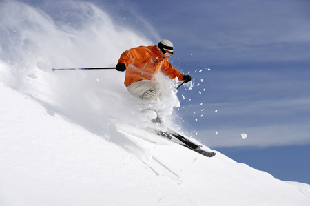 Austria, Saalbach, male skier jumping on slope LANG_EVOIMAGES
