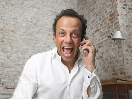 successfulness: Businessman talking on the telephone, shouting in happiness. ,Brussels, Belgium.
