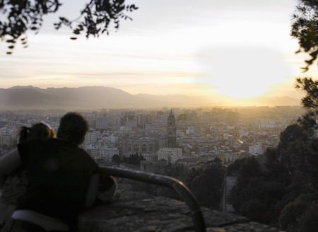 sightseers: Spain, Andalusia, Malaga, couple looking at cityscape at dusk