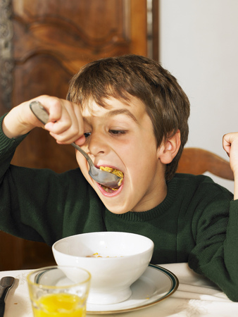 hottest: Boy (6-8) eating cereal at breakfast LANG_EVOIMAGES
