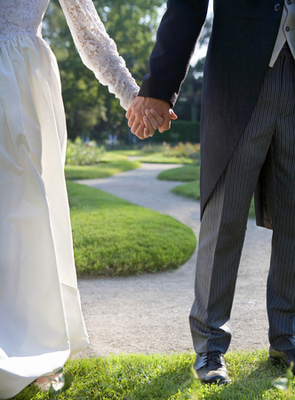 Bride and groom holding hands standing in garden, low section