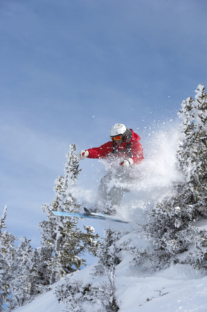 Austria, Saalbach, male skier jumping through trees on slope LANG_EVOIMAGES