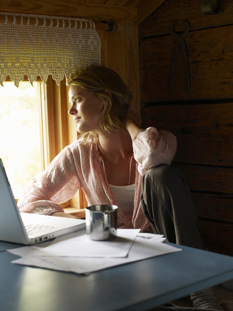 three persons only: Businesswoman working from home
