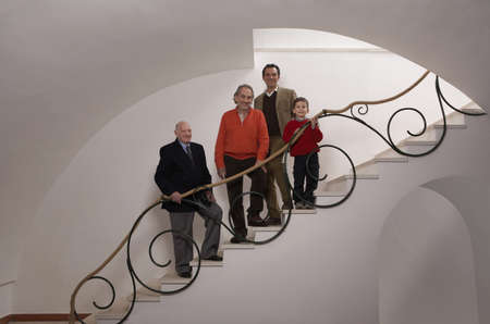 grand sons: Multigenerational family on staircase, portrait