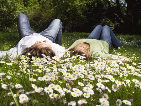 joyous: Couple lying in the grass.
