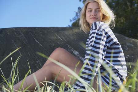 Young Woman in stripy shirt. LANG_EVOIMAGES