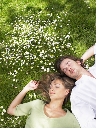 viewed: Couple sleeping in the grass. LANG_EVOIMAGES