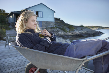 sweden resting: Young Woman relaxing.
