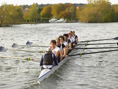 Full eight rowing.