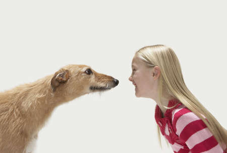 lurcher: Profile of girl and lurcher