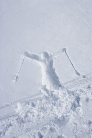 winter escape: Skiers outline in the snow