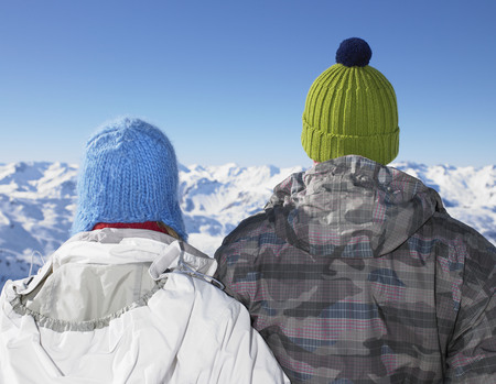 snowed: Couple admiring mountain view