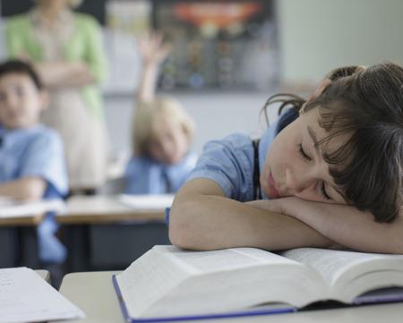 enquire: School girl sleeping at desk LANG_EVOIMAGES