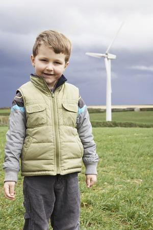 accountable: Boy on a wind farm